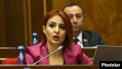 Armenia -- Ani Samsonian of the Bright Armenia Party speaks at a parliament session, February 11, 2020