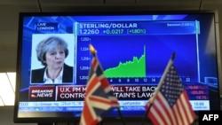 Slika britanske premijerke Therese May i trenutnog tečaja za važnije strane valute