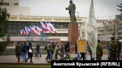 Один з пам'ятників Леніну в окупованому Сімферополі. 23 лютого 2018 року
