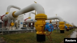 Gas cleaning-system pipes at Romny gas-compressor station in the Sumy region of Ukraine in mid-October