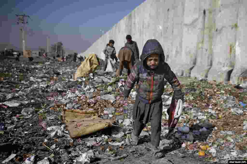 An internally displaced Afghan child looks for plastic and other items that can be used as a replacement for firewood at a garbage dump in Kabul. (AP/Altaf Qadri)