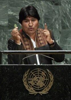 Эво Моралес на трибуне ООН