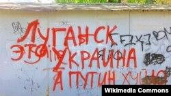 Напис на гаражі вздовж вулиці Демьохіна в Луганську, 2014 рік