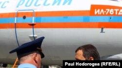 Premierul Vlad Filat la sosirea ajutoarelor