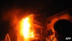 Во время протеста в селе Катуница был подожжен дом барона