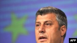 Kosovar Prime Minister Hashim Thaci at the Brussels donor conference
