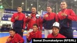Чемпионы Всемирных игр кочевников по кыргыз курош. 5 сентября 2018 года.