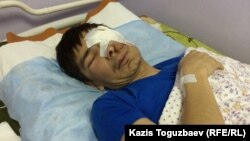 Мақсат Досмағамбетовтің ауруханада операция жасатып шыққаннан соңғы суреті. Алматы, 2 сәуір 2015 жыл.