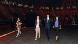 President Ilham Aliyev and his wife, Mehriban, attend the opening of the Crystal Hall.