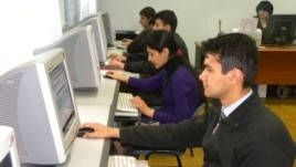 The scene at an Internet cafe in Dushanbe (file photo)
