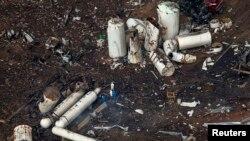 На месте взрыва на заводе по производству удобрений. Уэст, 18 апреля 2013 года.