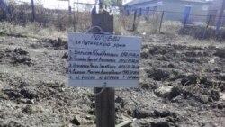 Могила на Донеччині з написом «Загинули за путінську брехню». Напис на могилі п'ятьох загиблих товаришів, як стверджують у ЗМІ та соцмережах, зробили російські військовослужбовці