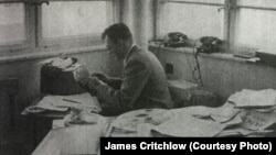 James Critchlow, circa 1955, at work at Radio Liberation in Munich.