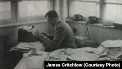 James Critchlow, circa 1955, at work at Radio Liberation in Munich.