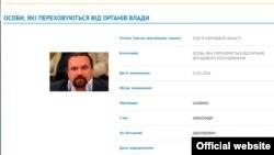Олександр Чаленко на сайті МВС