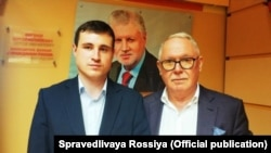 Aleksandr Solovyov (left) with Aleksandr Romanovich, the head of the Moscow branch of the A Just Russia party.