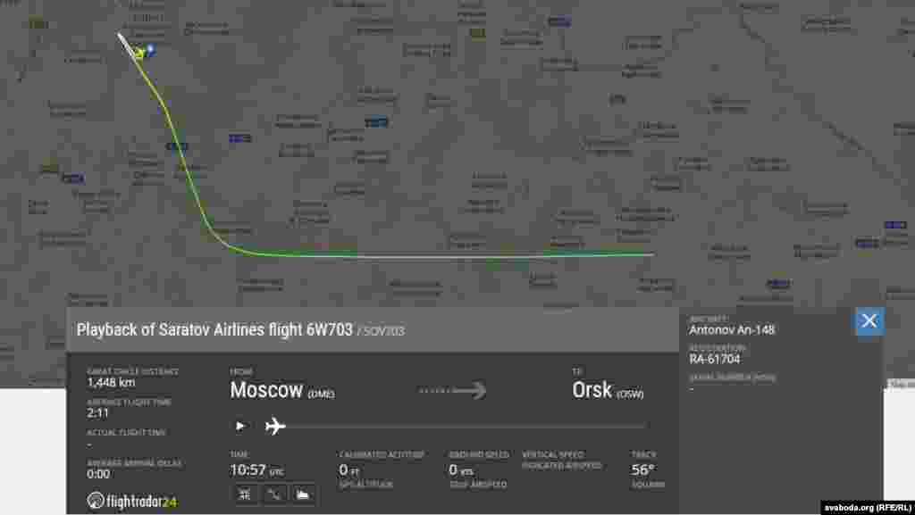 Як передає російська державна інформагенція«РИА Новости»з посиланням на свої джерела, літак зник з радарів через дві хвилини після вильоту з аеропорту «Домодєдово»
