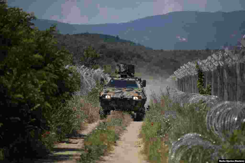 Macedonian soldiers patrol the country's 234-kilometer border with Greece.