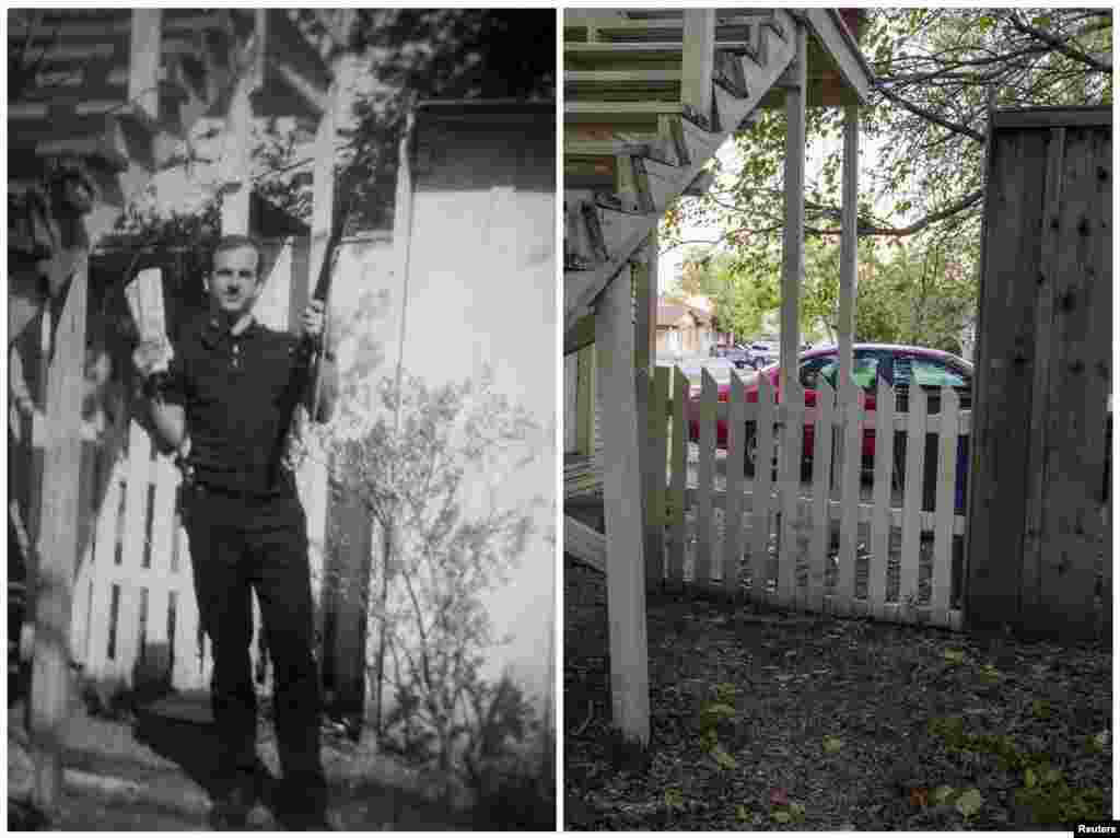 "Left photo: Lee Harvey Oswald ""holding a rifle in one hand and communist newspapers in the other"" in the backyard of 214 W. Neely Street, in a photo believed to have been taken in Dallas in 1963. Right photo: The same place on November 12, 2013."