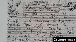 Telegrama lui I. Inculeț și D. Ciugureanu din 17 noiembrie 1918 (Foto: I. Țurcanu, M. Papuc, Basarabia în actul Marii Uniri de la 1918)
