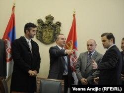 Lideri Srba sa severa tokom razgovora sa šefom beogradskog pregovaračkog tima Borislavom Stefanovićem u Beogradu, novembar 2011.