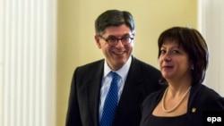 Министр финансов США Джейкоб Лью и министр финансов Украины Наталаья Яресько