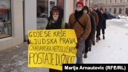 Protest u Prijedoru zbog kršenja ljudskih prava, decembar 2012.