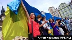 Акція на підтримку Ільмі Умерова в Празі, 3 вересня 2016 року