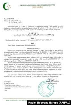 Dokument IZ BiH o utvrđivanju visine nisaba