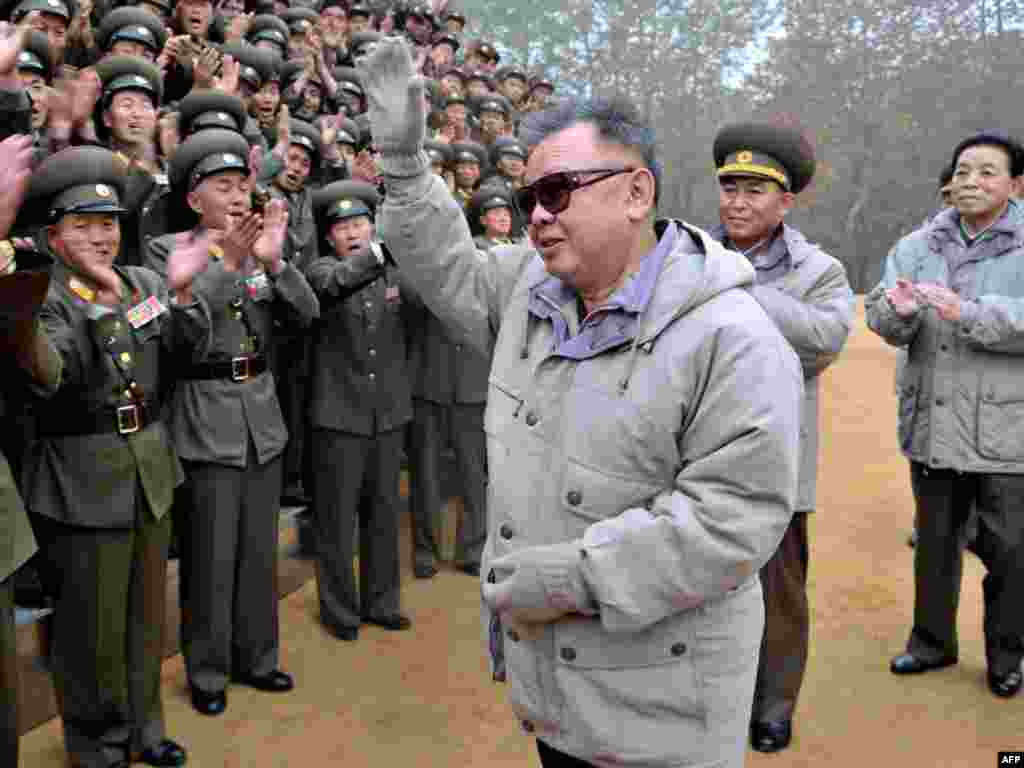 North Korean leader Kim Jong Il inspects a Korean People's Army unit in an undated image released on November 2, 2011.