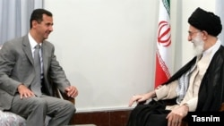 Iranian Supreme Leader Ayatollah Ali Khamenei (right) met with Syrian President Bashar al-Assad last month.