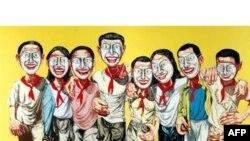 تابلوی «ماسک های زنجيره ای ۱۹۹۶ شماره ۶»، اثر «زنگ فانزهی». (عکس:AFP)