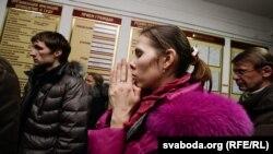 Алена Каваленка ў часе суду ў Віцебску