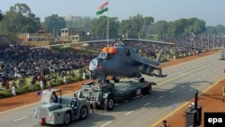 An Indian MI-25 attack helicopter is displayed during the Republic Day Parade in New Delhi in 2005.