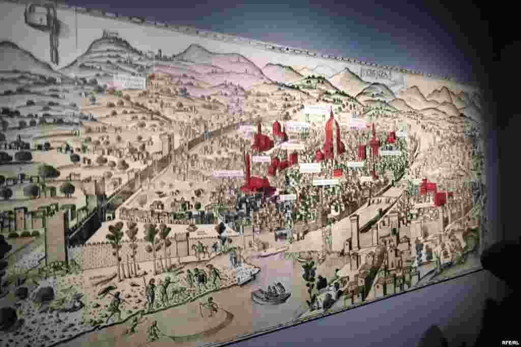 Harta Florenței și a bisericilor în care au fost create sau expuse diferitele obiecte ale expoziției.