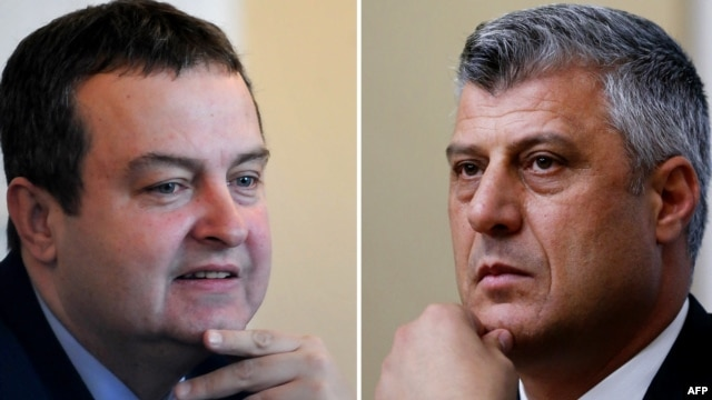 Serbian Prime Minister Ivica Dacic (left) and Kosovo's Prime Minister Hashim Thaci will meet again next month.
