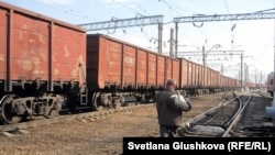 Kazakhstan - Freight trains at the station, railways, railway carriages. Astana, 16Oct2011.