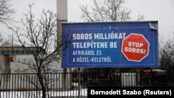 An anti-Soros billboard placed by the Hungarian government.