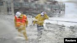 جانب من مؤثرات الإعصار (إيرني) في نيويورك 28 آب 2011