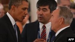 АҚШ Президенти Барак Обама ва Қозоғистон Президенти Нурсултон Назарбоев G20 саммитида. Санкт Петербург, 2013 йил 5 сентябрь.