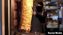 "Other images mock ""Jihadi John"" directly, such as this photoshopped picture that shows the British militant using his knife to make a kebab."