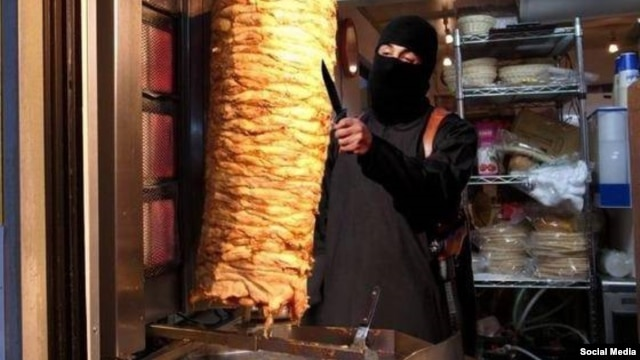 """Other images mock """"Jihadi John"""" directly, such as this photoshopped picture that shows the British militant using his knife to make a kebab."""