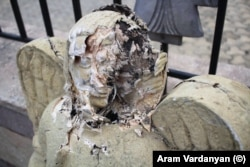 An angel statue was damaged at a church in Shushi (Susa), about 13 kilometers from Stepanakert.