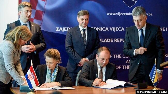 Ministri spoljnih poslova Hrvatske Marija Pajčinović Birić i BiH Igor Crnadak potpisali su sporazum o evropskom partnerstvu
