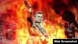 Скриншот ролика, в котором Алексей Навальный сравнивается с Гитлером
