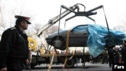 Maşina în care a fost ucis tânărul fizician iranian
