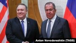 Держсекретар США Майкл Помпео (л) та міністр закордонних справ Росії Сергій Лавров, Сочі, Росія, 14 травня 2019 року