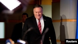 U.S. Secretary of State Mike Pompeo arrives for a news conference at the State Department, in Washington, U.S., April 29, 2020.