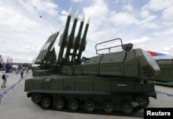 A Russian Buk missile system is seen on display outside Moscow in June 2015. For more on the Buk, see the infographic below.