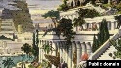 جنائن بابل المعلقة للفنان الهولندي مارتن هيمسكيرك القرن 16 الميلادي